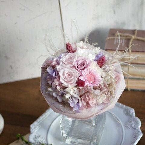 petit bouquet プリザーブドフラワー ガーベラとローズのふわふわ花束