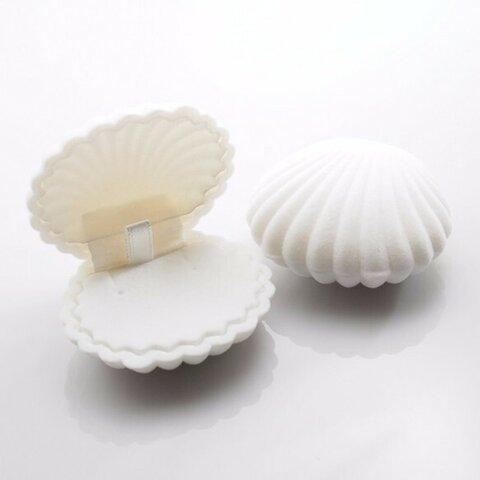 シェル型ピアスケース 「ホワイト 」 携帯用 貝 アクセサリーケース ピアス イヤリングケース ジュエリーボックス