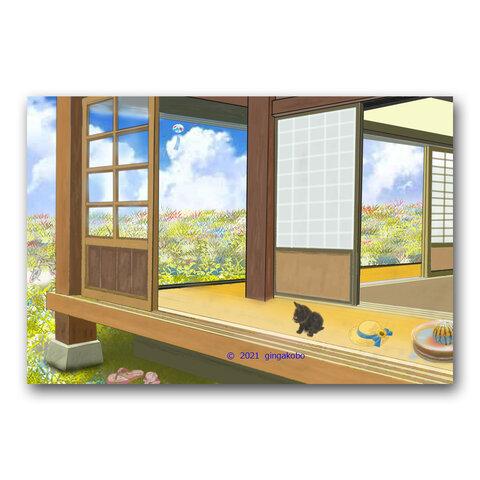 「今年も帰って来れないって・・・」 黒猫 夏 お盆 ほっこり癒しのイラストポストカード2枚組No.1413