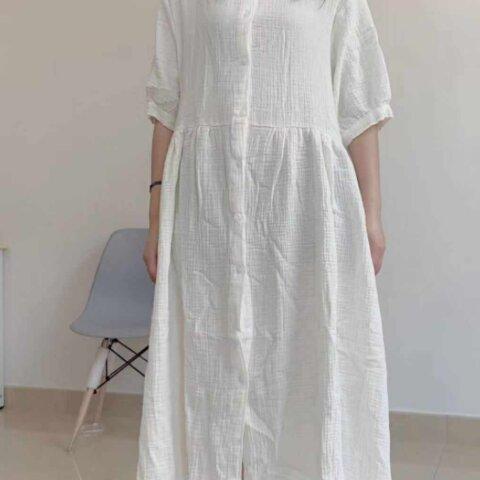 New【 ベビーコットン】ホワイト半袖ドレス~ ワンピース ゆったり