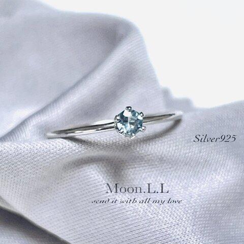 3月誕生石 アクアマリンのミルククラウンリング silver925