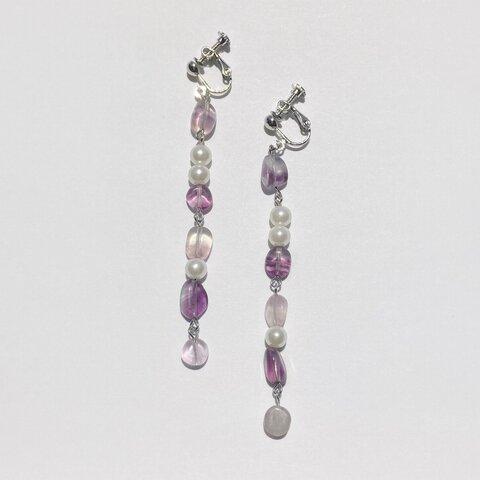 フローライト 天然石 ピアス イヤリング 【fluorite pearl(purple)pierce&earring】パール パープル