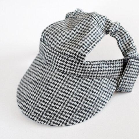 【Mサイズ】犬の帽子*起毛千鳥格子(黒ゴム)(再販不可)