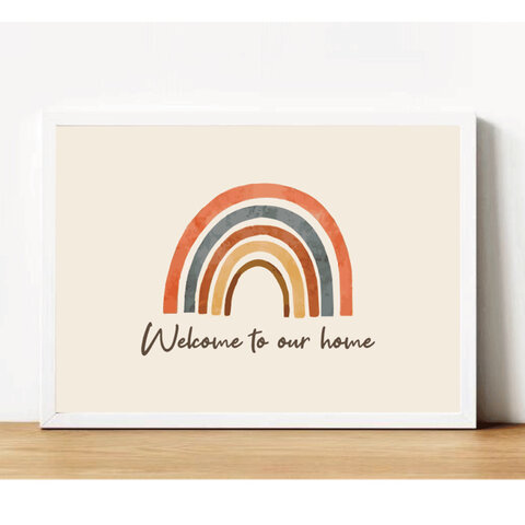 【送料無料】「お好きな文字入れ可能!!」インテリアポスター インテリアアート【rainbow】A4サイズ 横