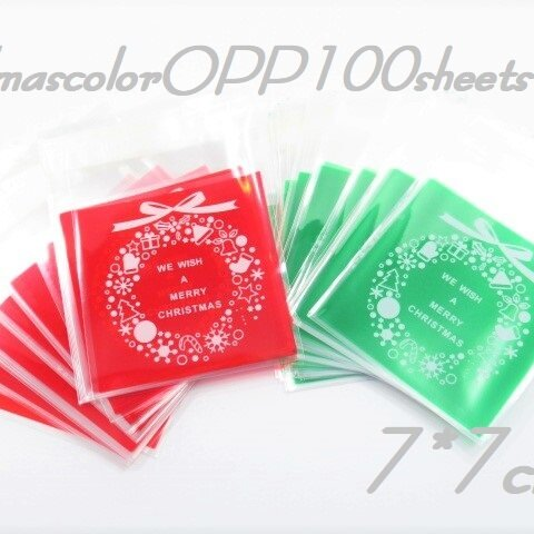 X'mas OPP100枚 7×7㎝ クリスマスカラー デザインOPP ギフト ラッピング
