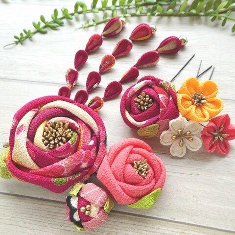 椿のクリップ髪飾りセット*扇に菊柄牡丹色 #つまみ細工 着物・成人式・七五三・卒業式に