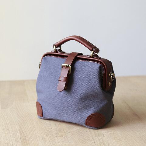 「帆布×革の組み合わせ」フラットタイプのがま口バッグ 手作りのショルダーバッグ 2WAY 中型鞄