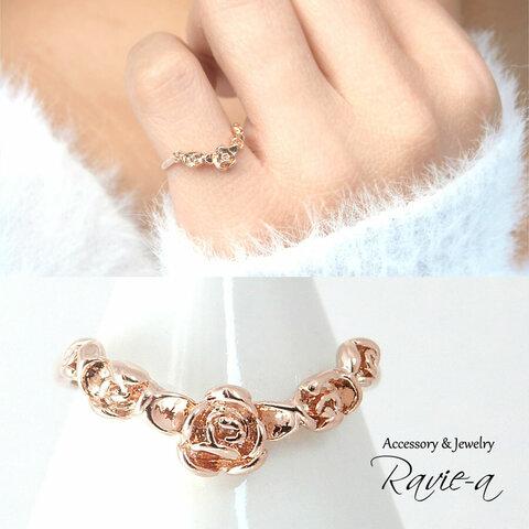 ピンキーリング ピンクゴールド 華奢 指輪 薔薇 ローズ 1~17号 カラー変更可能 セミオーダー