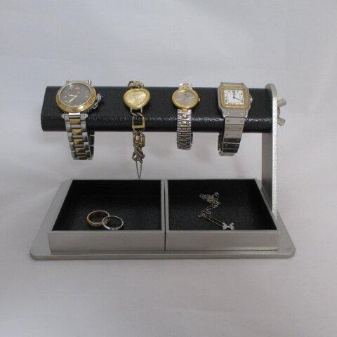 時計 飾る  蝶ナットでクリクリと回してだ円パイプの角度を変えることが出来る腕時計スタンド ダブルでかいトレイ付き ak-design N172012
