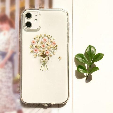 かすみ草・.。*・:スマホケース・.。*・: 押し花 スマホケース /  iPhone11 /  iPhone11 Pro / iPhone 8 7
