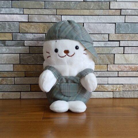 ☆ハンドパペたん20cm☆秋のオーバーオールとお帽子のセット