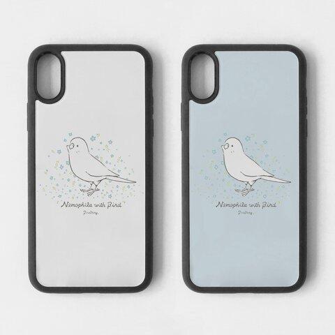 スマートフォンケース(Nemophila with Bird)