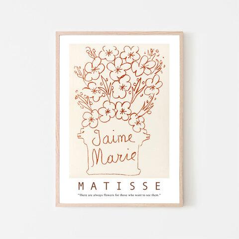 マティス J'aime Marie フラワーイラスト / アートポスター 2L ミニマル ラインアート モノトーン 花