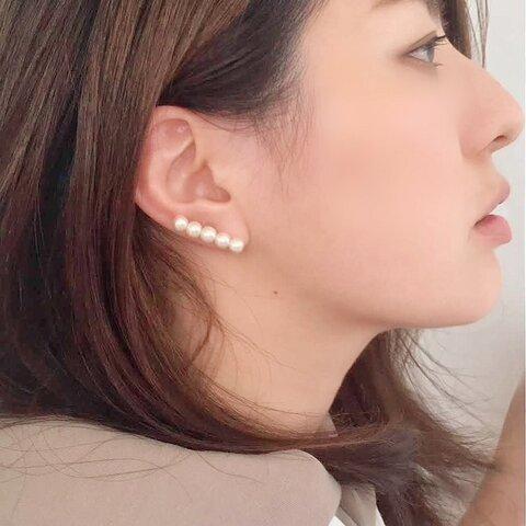 片耳コットンパールラインピアス ストレート P821(イヤリング)サージカルステンレス