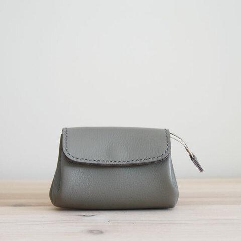 new! 二つ折り札対応 レザーミニ財布(グレー)