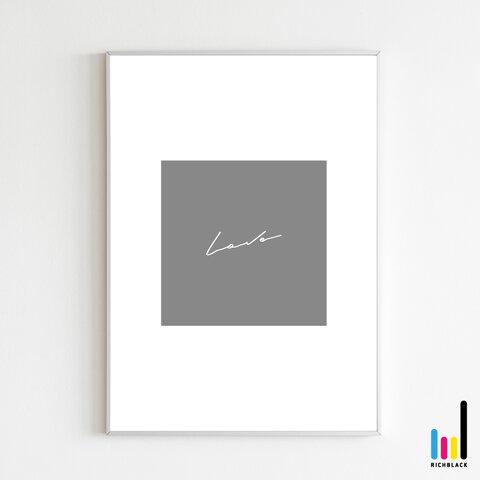 love タイポグラフィ アート プリント ポスター [ A3 ] シンプル ナチュラル 文字 雑貨 ウェルカム 玄関 サイン インテリア