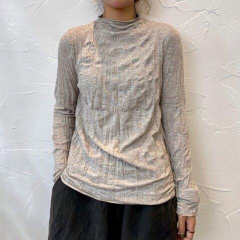 New【秋 冬】ベージュ コットン 長袖Tシャツ、無地のベースシャツ