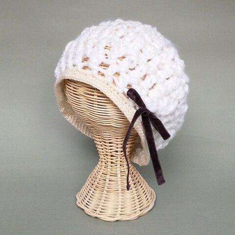 ふんわりホワイトリボンベレー帽