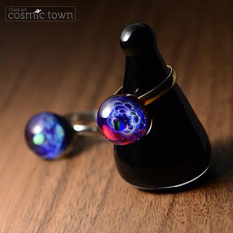 【受注生産】ガラス製宇宙リング / 指輪 / ステンレス / ギフトボックス付き / ボロシリケイト【オパール入り】【cosmic town】