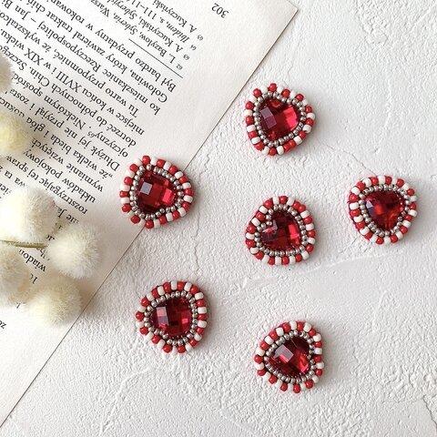 ハート&ビーズイヤリング(赤色)