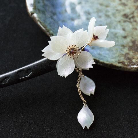 桜のかんざし 黒檀木 木製