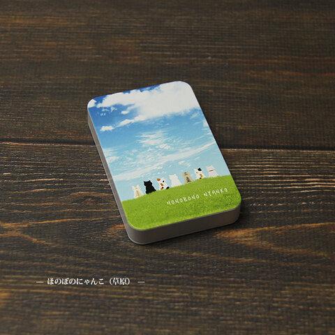モバイルバッテリー5000mAh(蓄電用コード付き)【ほのぼのにゃんこ(草原)】 【名入れ可】