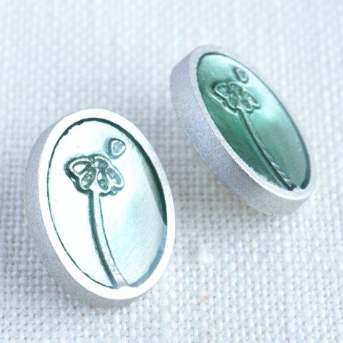 フランス製 花占いボタン 15mm アクアブルー (2個)