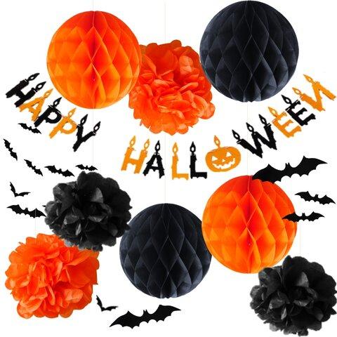 ハロウィン 飾り 21点セット オレンジ+ブラック