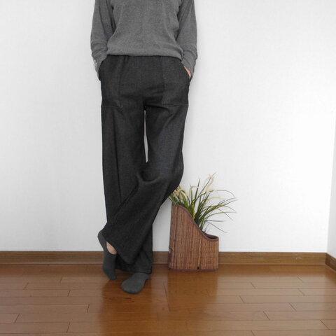 裏起毛ストレッチデニムのセミワイドパンツ・ブラックとネイビーの2色(お好きな丈で)
