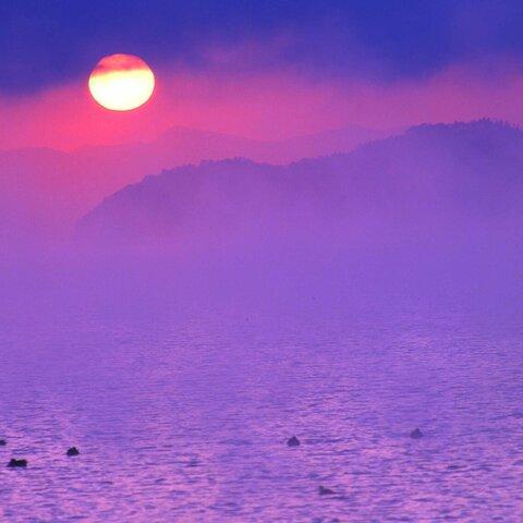 SR-470 湖北夕景-2 (琵琶湖) A4size 横
