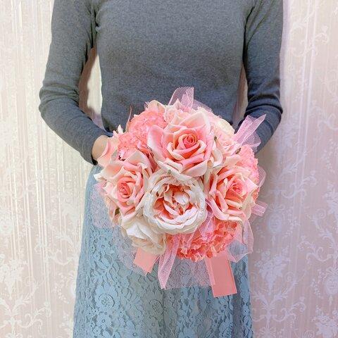 ピンクのバラとカーネーションのブーケ ブートニアSET