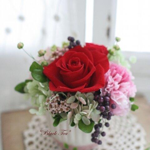 【母の日おすすめ】赤バラが大人可愛いいALLプリザのアレンジ