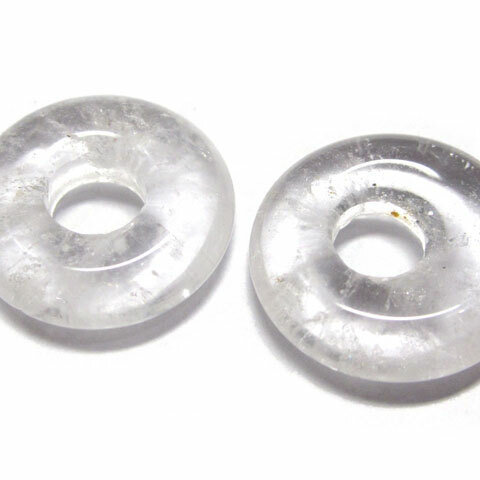 大穴ビーズ 白水晶 クォーツ ディスク 約18mm 約5mm穴 【5個】 天然石 ハンドメイドアクセサリ 6001817