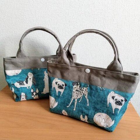 犬柄ミニトートバッグ