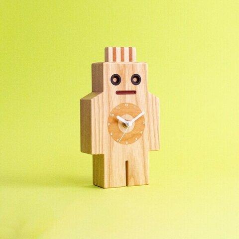 ロボマン(ロボット型木製時計) ホワイトアッシュ ブラックチェリー製 スタジオアオ