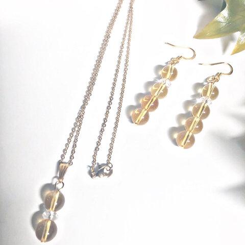 (金アレ対応)11月誕生石 宝石質5Aシトリンネックレス&ピアスorイヤリング