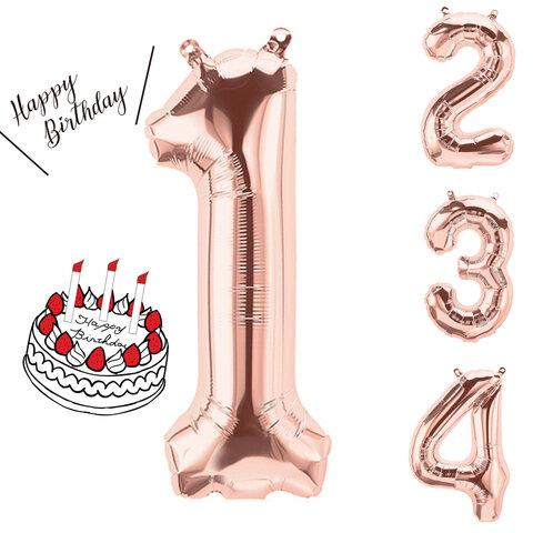 誕生日 ナンバーバルーン【 Mサイズ】 1 2 3 4 5 6 7 8 9 0 バースデー デコレーション 1歳 誕生日 飾り バルーン