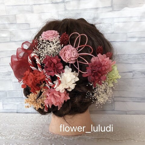 【新作】成人式結婚式卒業式 ピンク赤髪飾り プリザーブドフラワードライフラワー