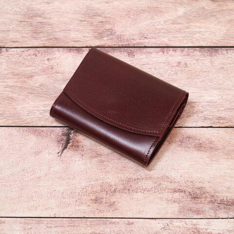 ◎お買い得◎イタリアンレザーのコロンとしたミニ財布(ボルドー)