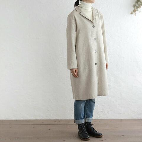 リネン テーラードカラーショップコート 羽織り (ナチュラルベージュ ) CO04