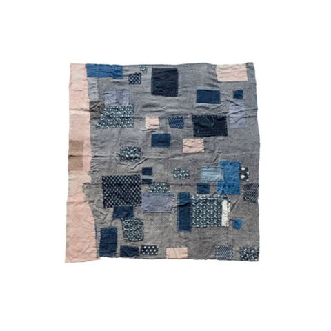 BORO original fabric Japanese brown kasuri indigo blue patches 01 99x102cm from MOMOZONO archive
