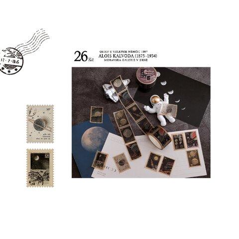 切手風マスキングテープ 惑星と月 ビンテージ風 コラージュ 宇宙 nebula
