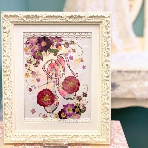 お花のハイヒール 押し花アート額 ホワイト