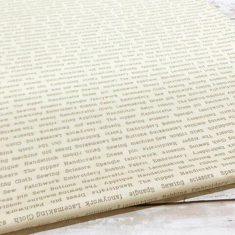 110×50 生地 布 抗菌 抗ウイルス クレンゼ イータック 綿スケアー クリーム 英字柄 コットン100% 50cm単位販売 CLEANSE Etak 国産 日本製 商用利用可