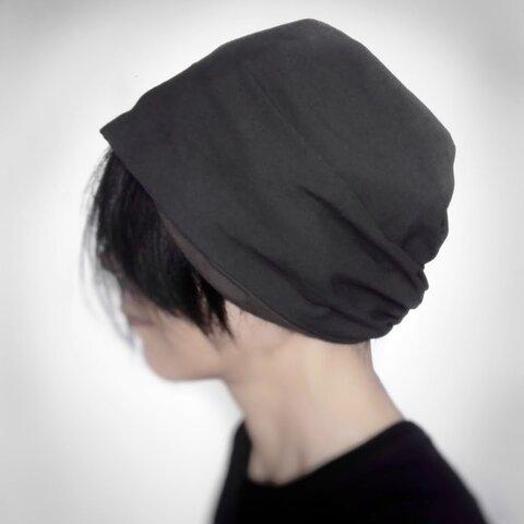 ターバンな帽子 チャコールカーキ+ブラウン