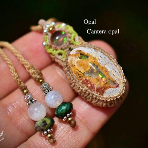 虹色の夢世界★プレシャスオパール カンテラオパール マクラメペンダント opal025