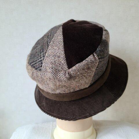魅せる帽子☆小さいサイズ♪布遊びのあったかハット~ブラウン