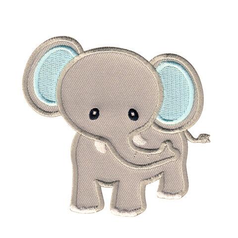 【大きい】ゾウ アップリケ (PM-Elephant(Grey/Blue))