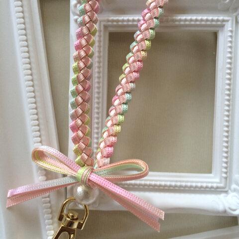 【再×10】春色♡ピンク×パステルレインボー♡ リボンレイ ネックストラップ