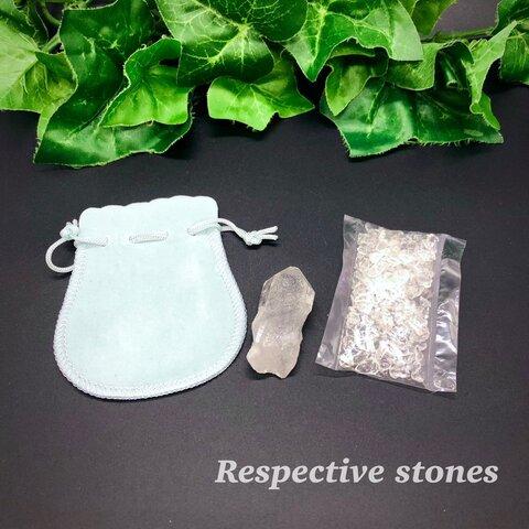 水晶の御守りセット(水晶さざれ石&水晶ポイント&ポーチ)水晶はパワーストーンの基本中の基本です!浄化・開運・厄除け/kmo-21